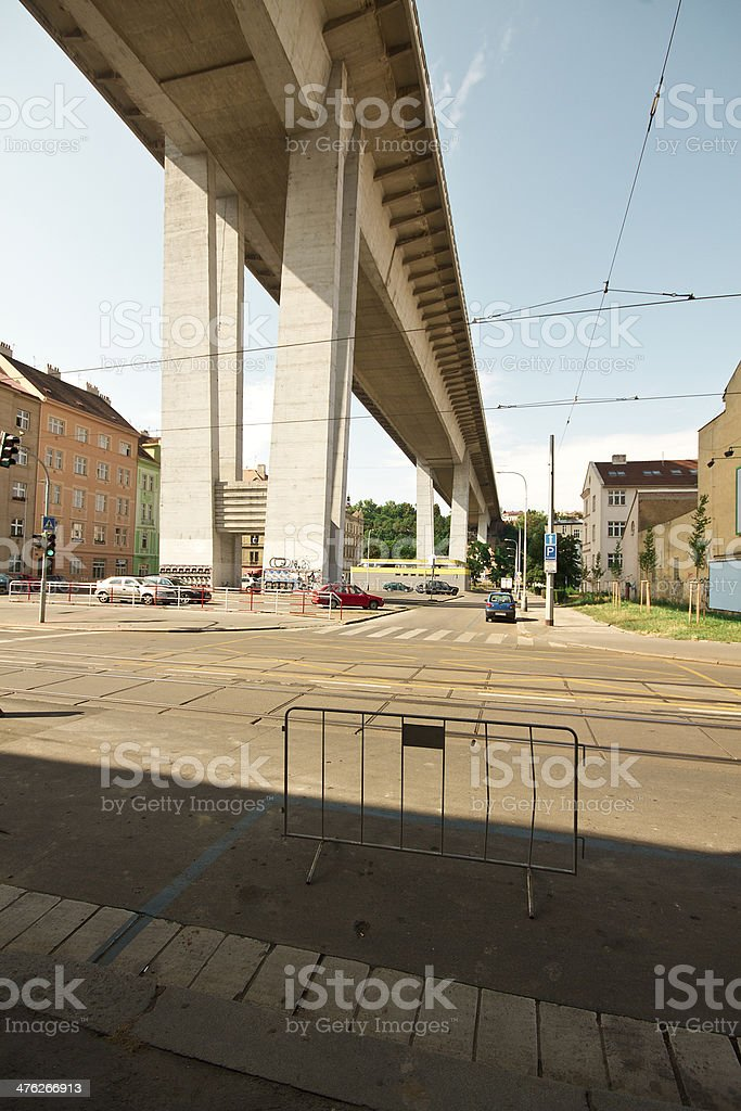 Street View with Highway Bridge royalty-free stock photo