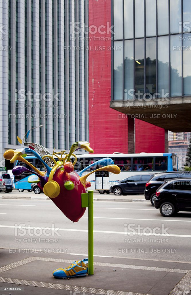 Street view with phone booth in Sao Paulo, Brazil stock photo