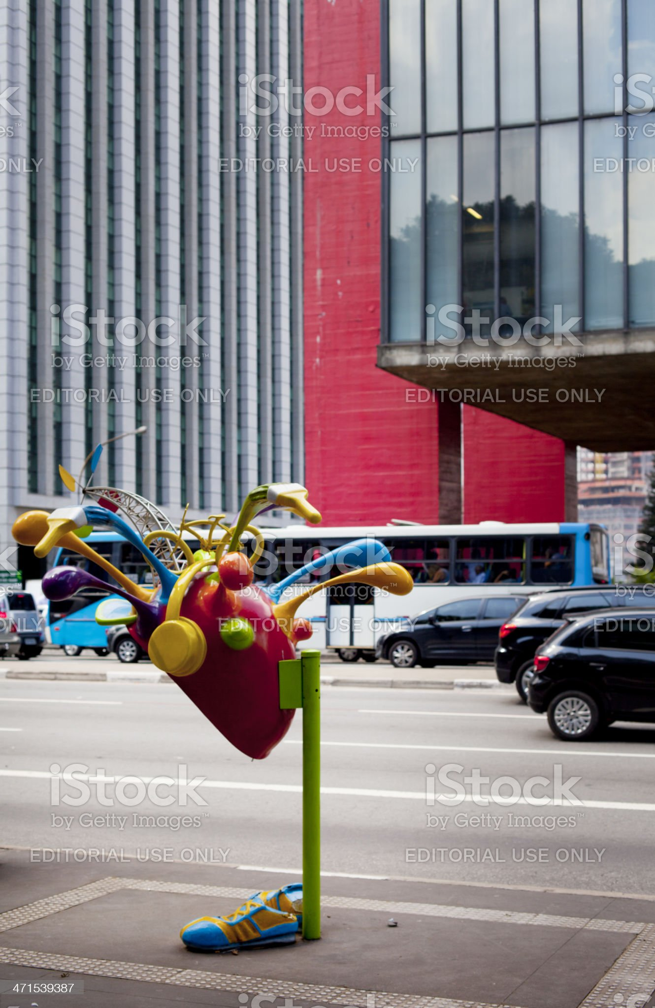 Street view with phone booth in Sao Paulo, Brazil royalty-free stock photo