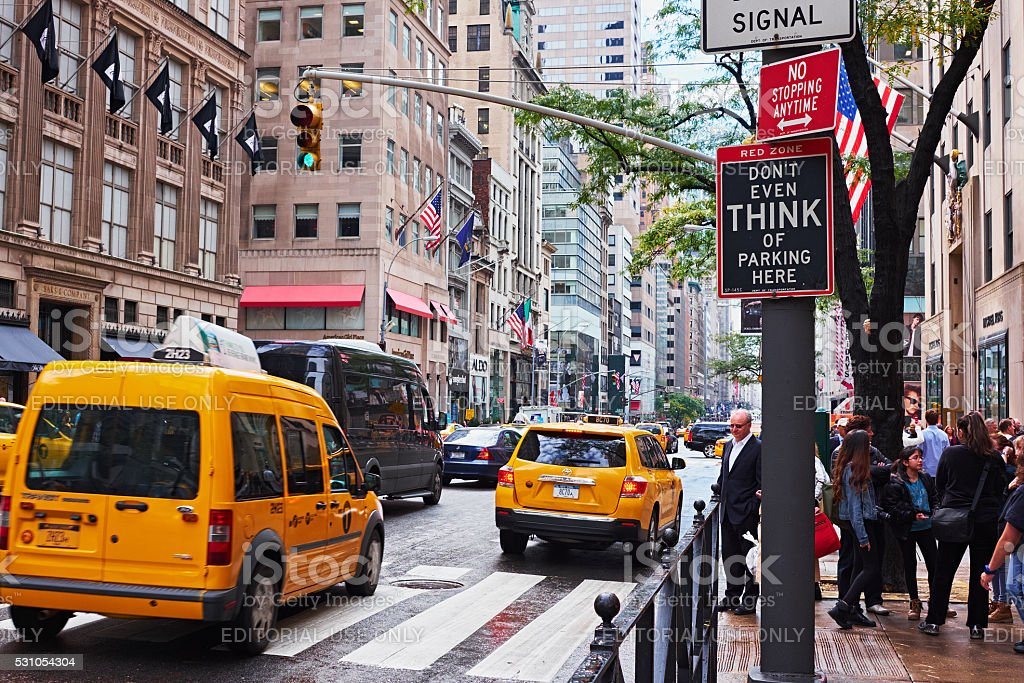 street view with yellow cabs stock photo