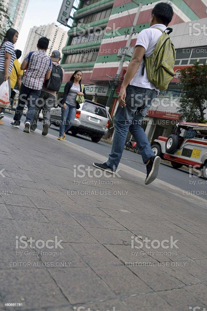 Street walking, Manila Philippines stock photo