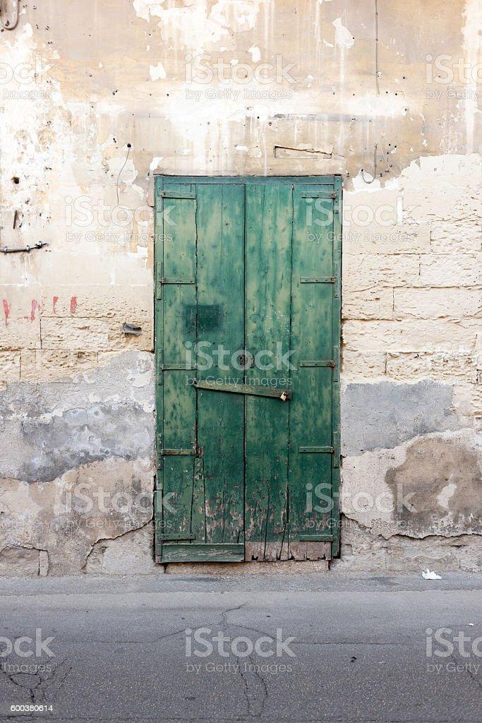 Street wall background with door stock photo