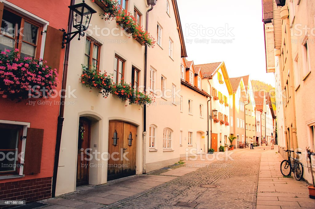 Street way of old buildings in Fussen, Bavaria, Germany stock photo