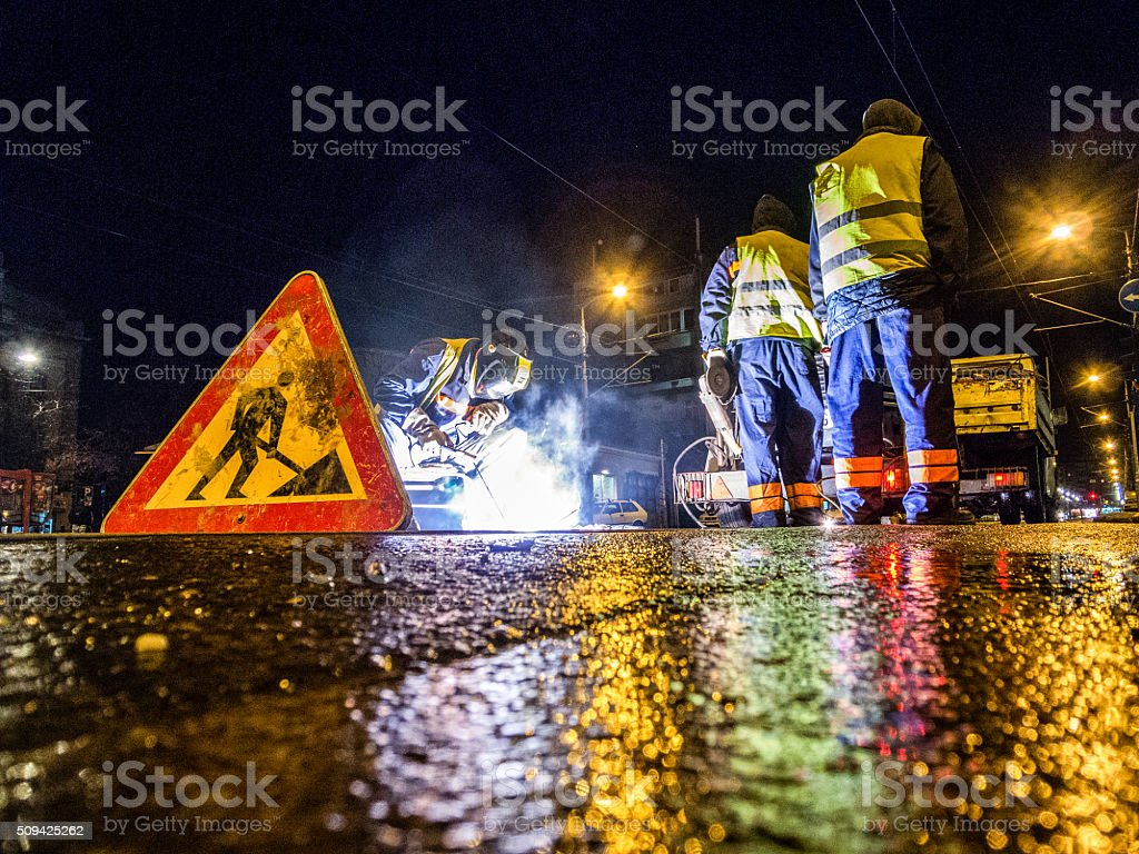 Street welder stock photo