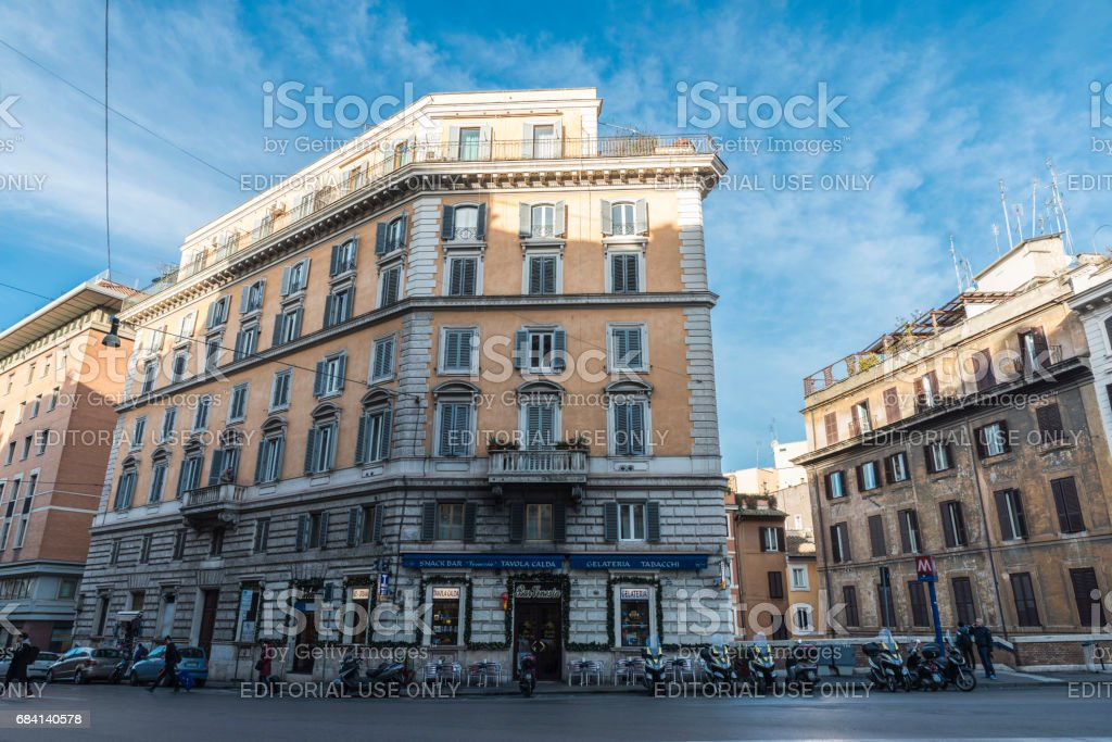 Street with a terrace of a bar restaurant in Rome, Italy stock photo