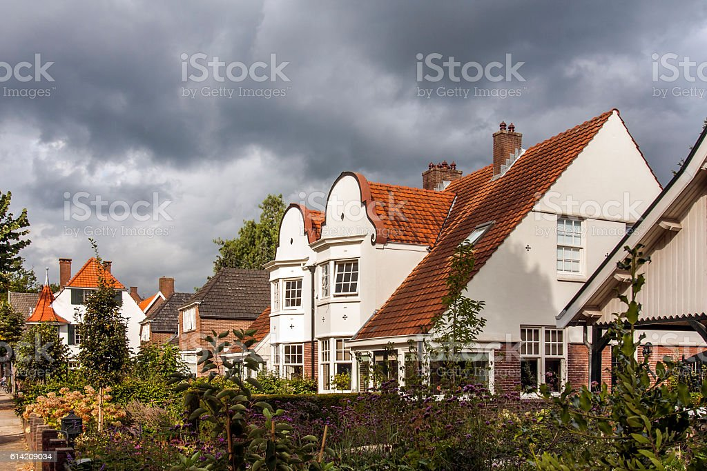 Street with classic houses stock photo