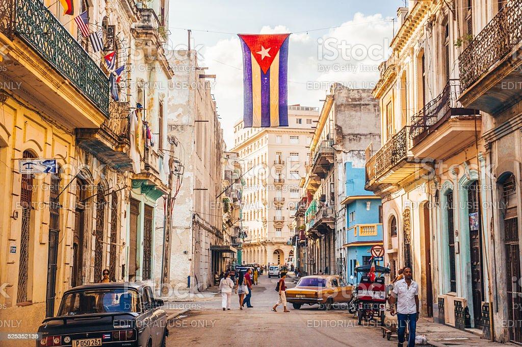 Street with Cuban flag in Havana stock photo