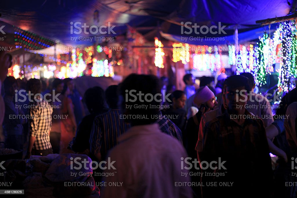 Street with Diwali Lights stock photo