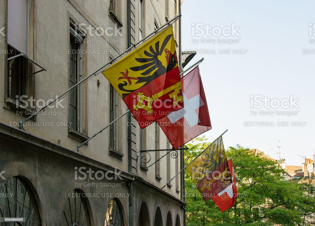 Street with Flags in Hotel Ville at Geneva stock photo