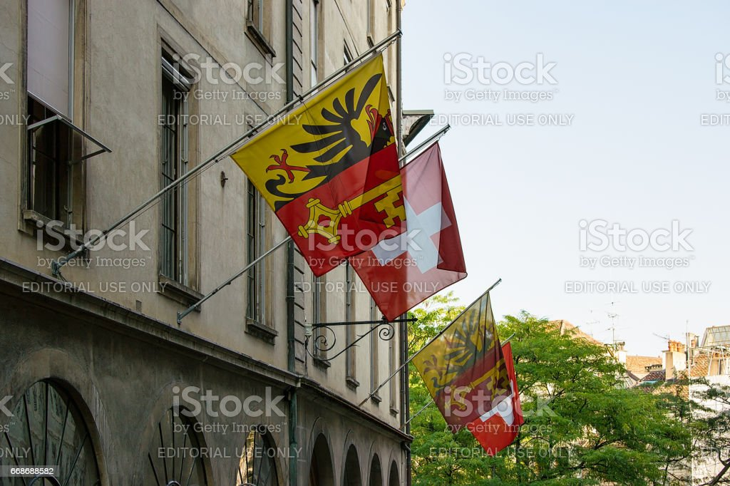 Street with Flags on Hotel Ville at Geneva stock photo