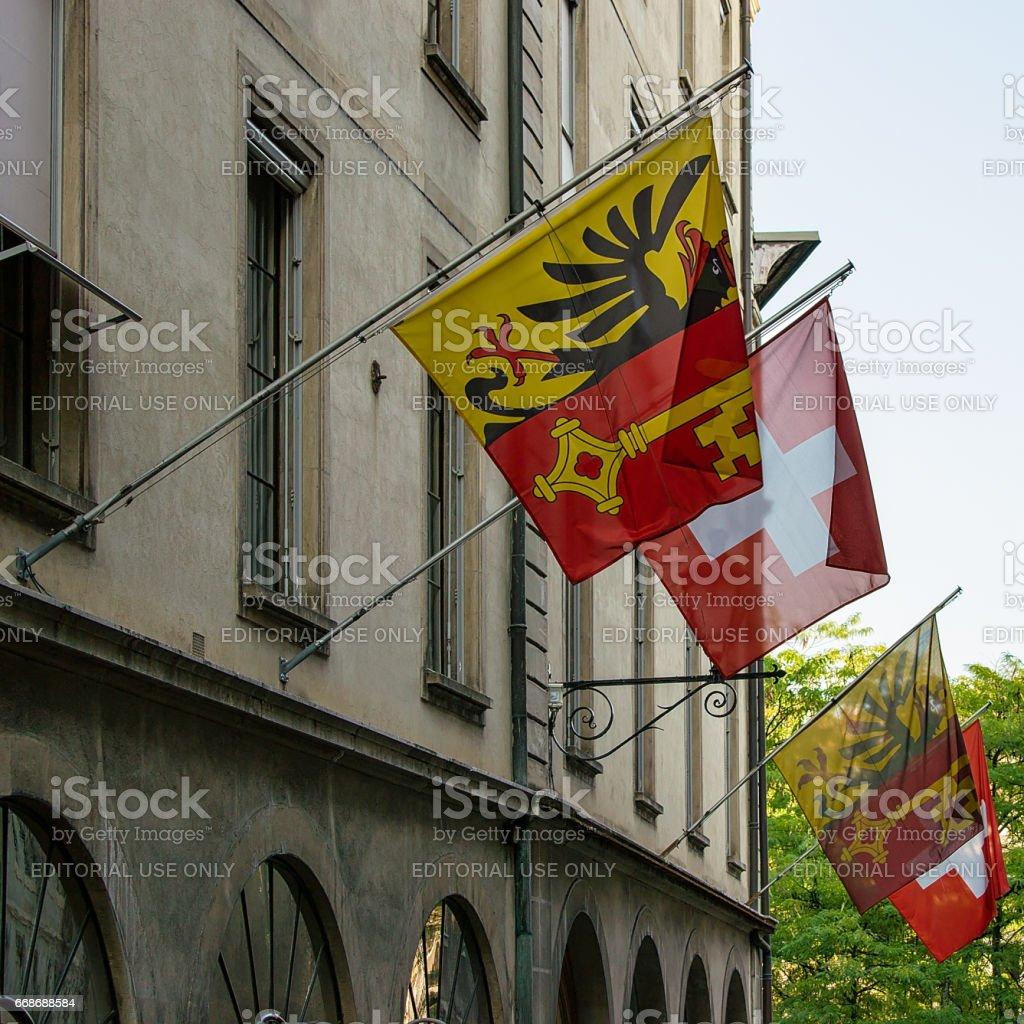Street with Flags on Hotel Ville Geneva stock photo