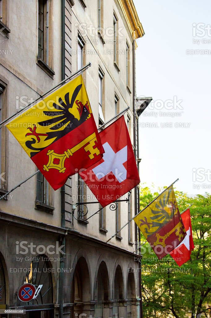 Street with Flags on Hotel Ville in Geneva stock photo