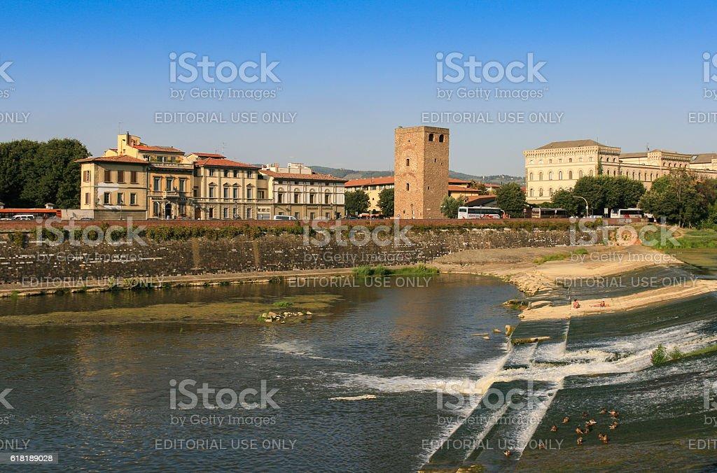 Street with Historic Buildings and Arno River, Florence, Italy. stock photo