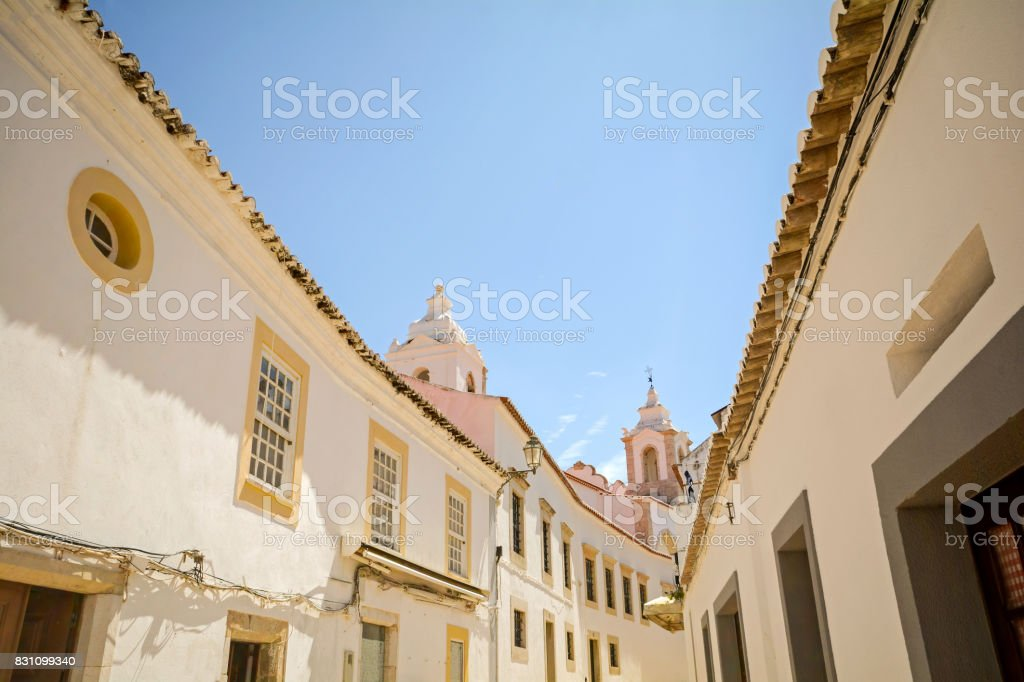 Street with historical buildings in the old town of Lagos, Algarve Portugal stock photo