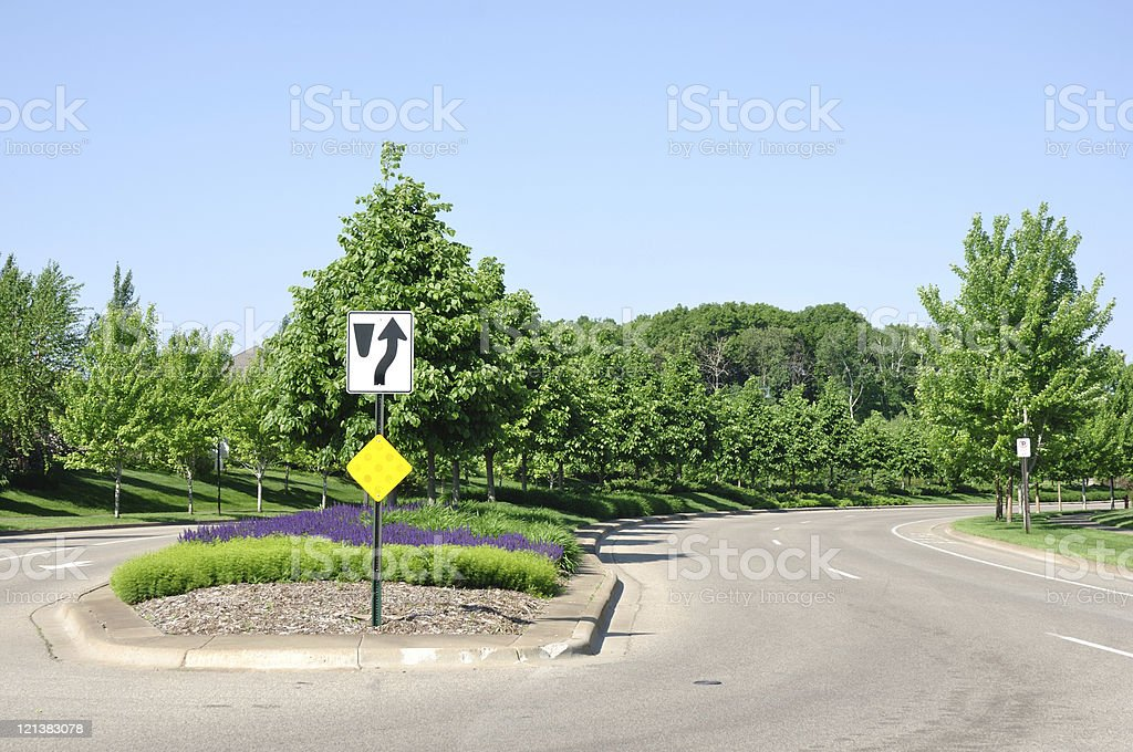 Street With Landscaped Median stock photo