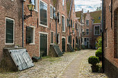 Street with medieval houses in The Netherlands