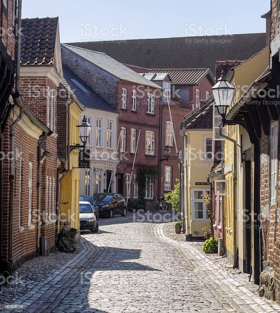 Street with old houses from Ribe in Denmark stock photo