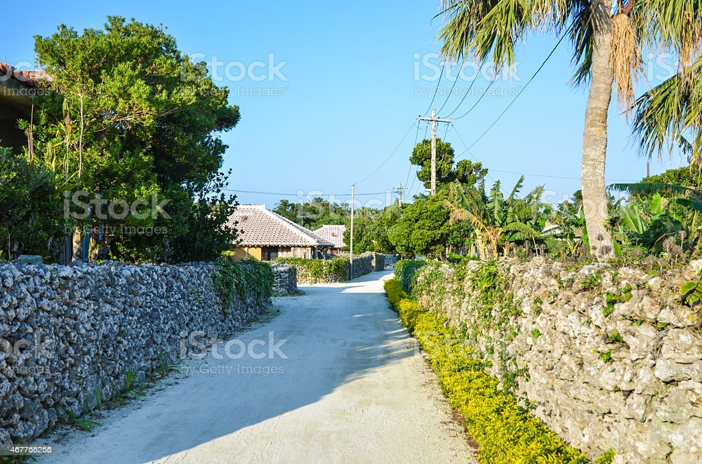 Street with old stonewalls stock photo