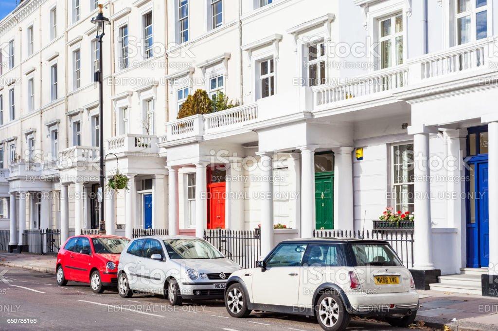Street with Regency Style Row Houses in Pimlico London England UK stock photo