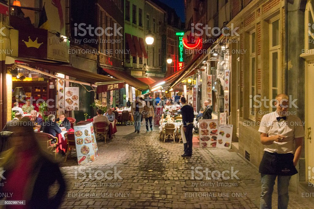 Street with restaurants, Brussels ,Belgium stock photo