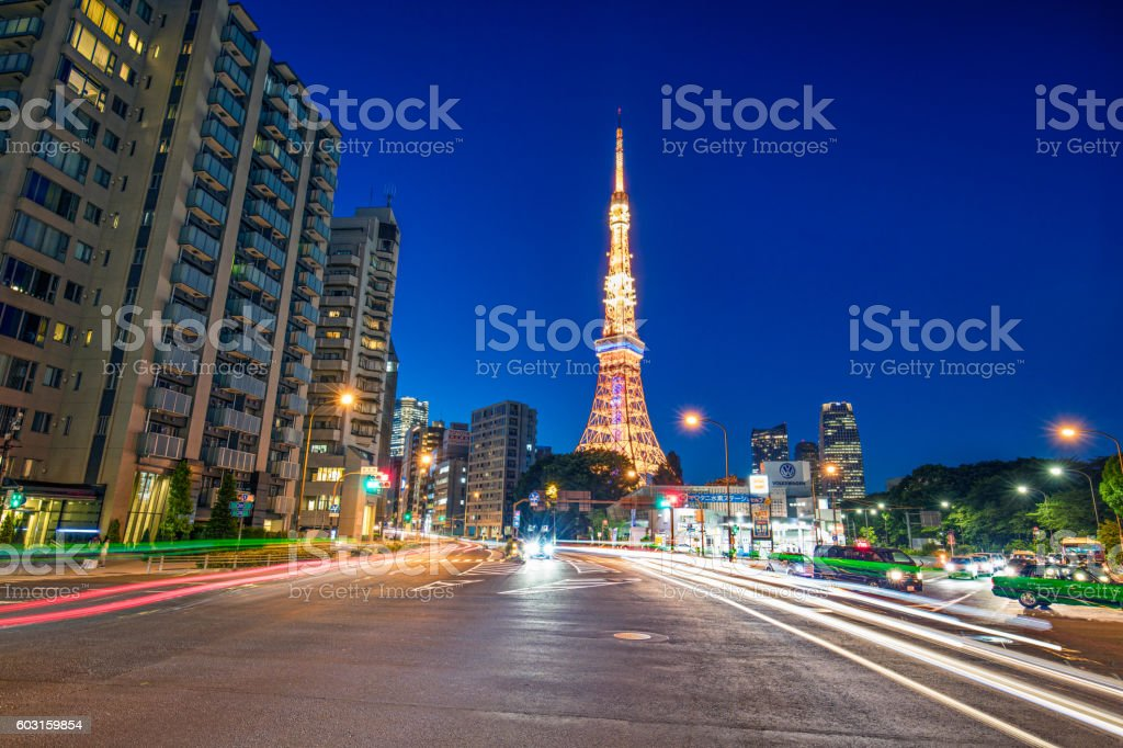Street with Tokyo Tower in the background stock photo