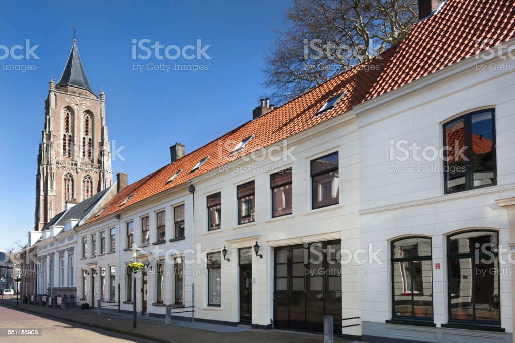 Street with traditional houses and church stock photo