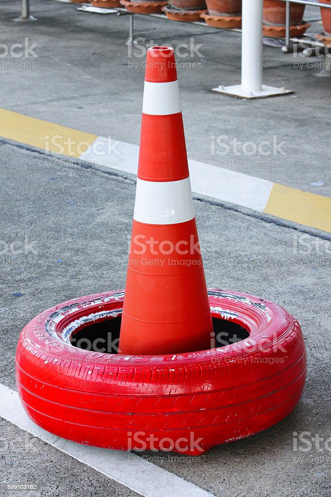 Street with traffic cone stock photo