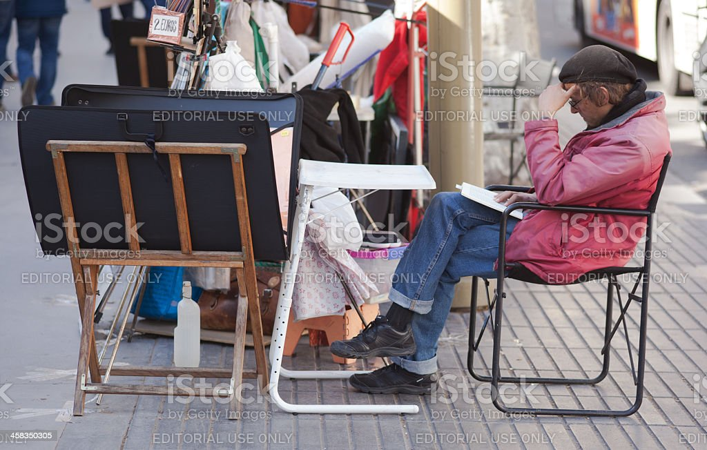 Streetartist in Barcelona royalty-free stock photo