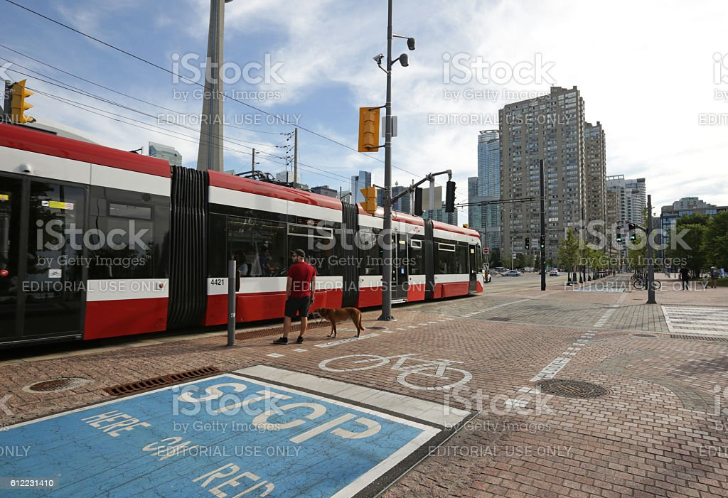 Streetcar and Bike Lane, Queens Quay, Harbourfront, Toronto, Canada stock photo