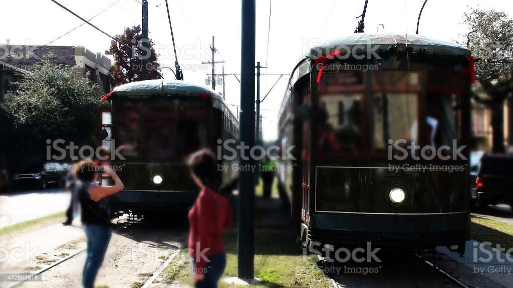 Streetcar At downtown New Orleans,Louisiana,USA stock photo