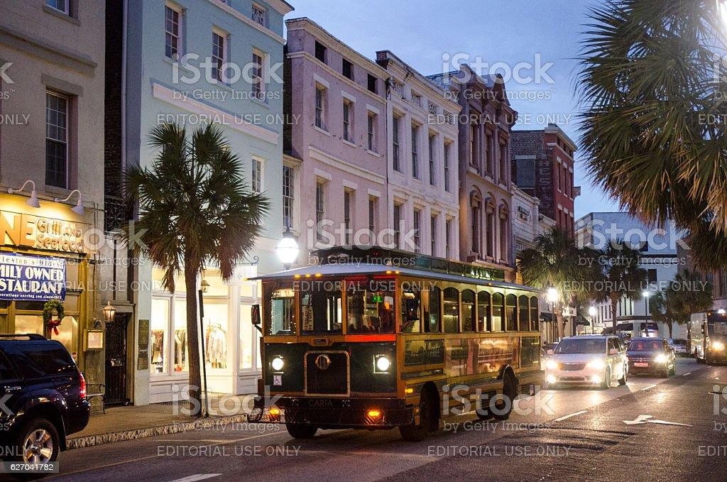 Streetcar Bus on King Street in Historic Charleston, South Carolina stock photo