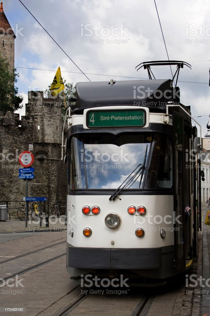 Streetcar, cable car, tram. stock photo