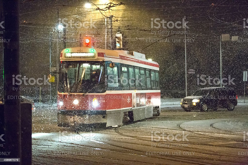 Streetcar in a snow storm royalty-free stock photo