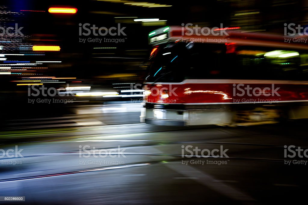 Streetcar in the night stock photo