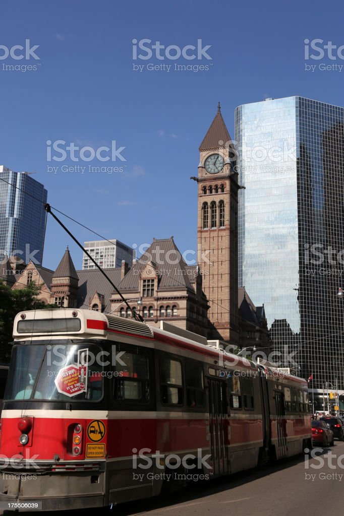 Streetcar in Toronto Downtown royalty-free stock photo