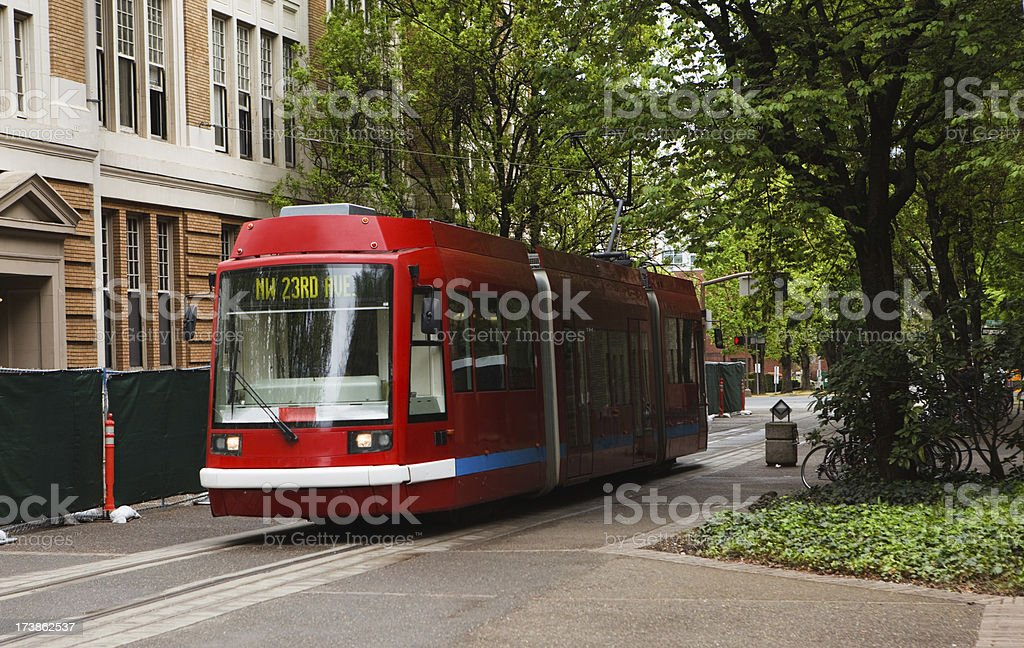 streetcar moving through the city. royalty-free stock photo