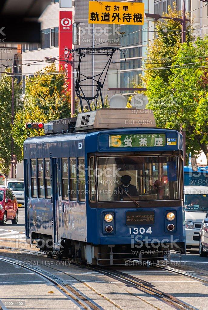 Streetcar operating in Nagasaki, Japan stock photo