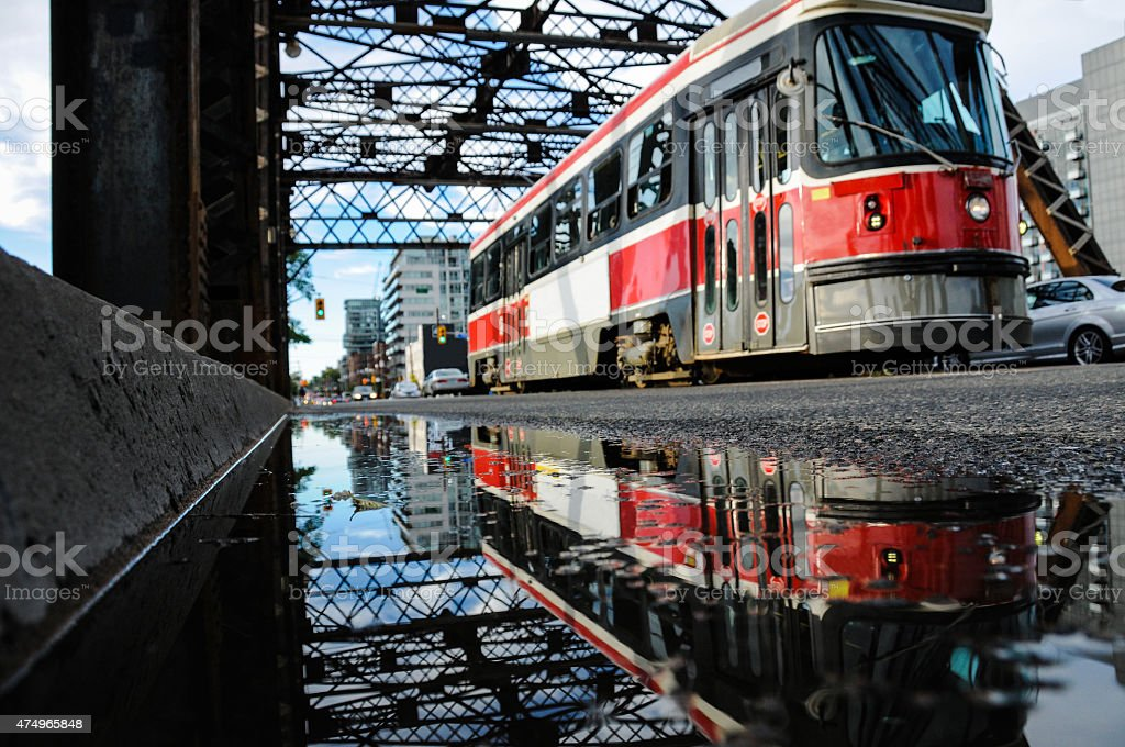 streetcar reflection stock photo