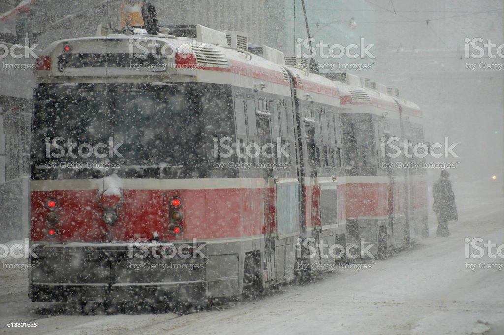 streetcar snowstorm stock photo