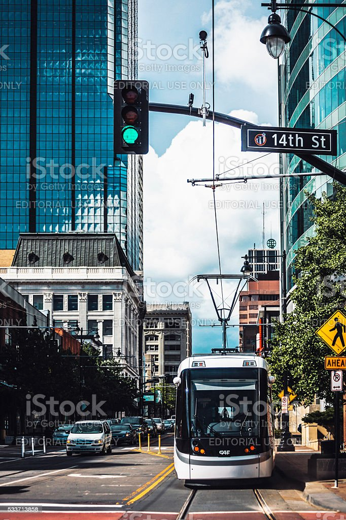 Streetcars in Kansas City. stock photo