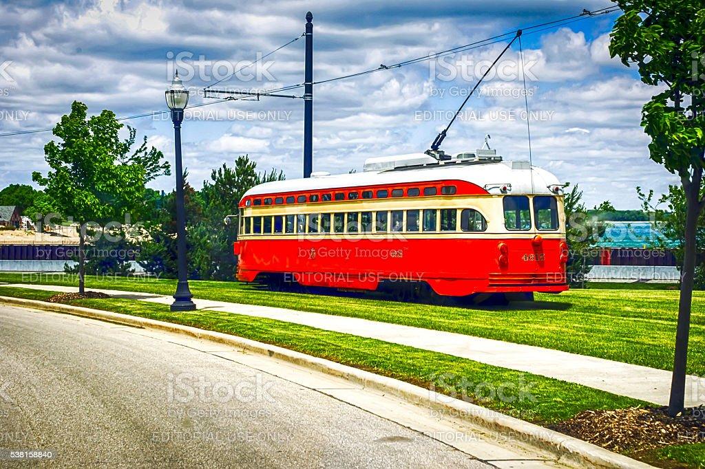 PPC streetcars touring Harbor Park in Kenosha Wisconsin stock photo