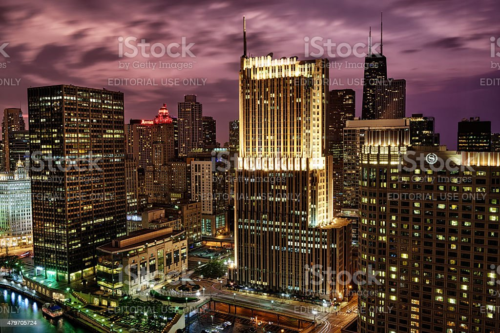 Streeterville skyscrapers at dusk, downtown Chicago stock photo