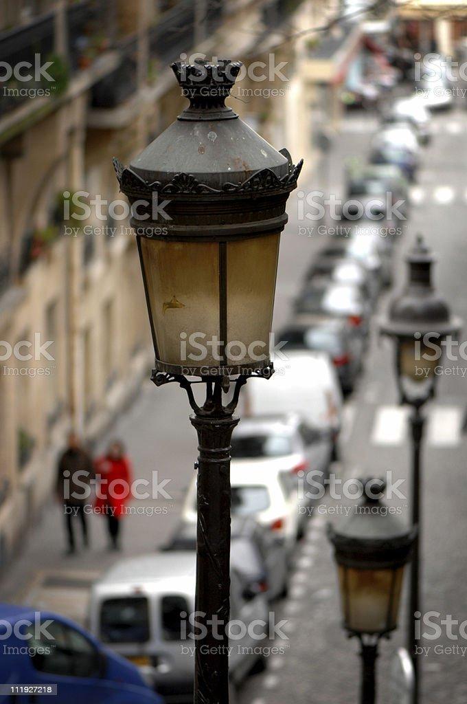 Streetlamp and Romantic Couple Paris France royalty-free stock photo