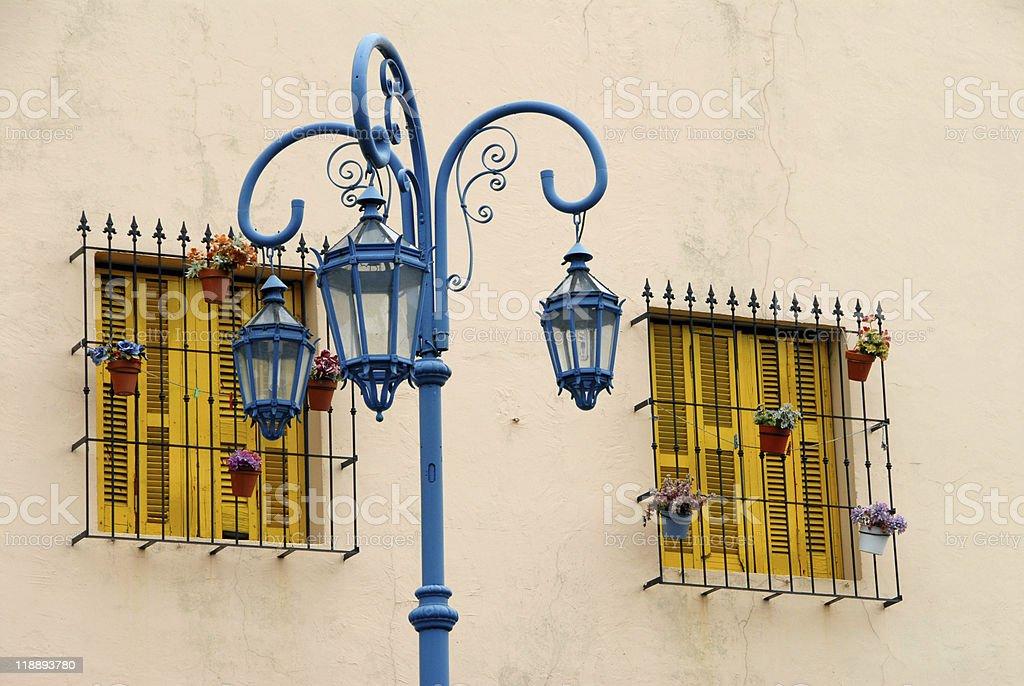 Streetlamp and Windows royalty-free stock photo