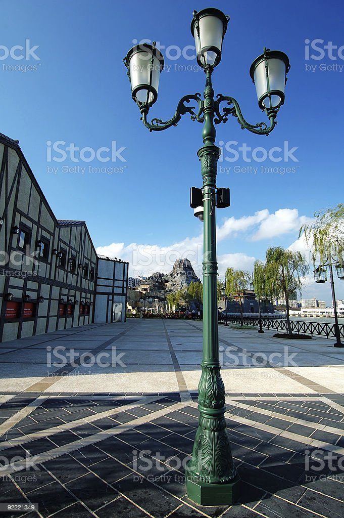 Streetlamp in session of Roman city royalty-free stock photo