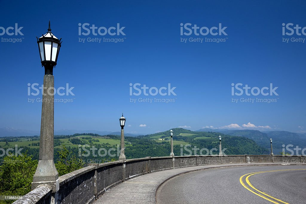 Streetlamps along Old Columbia River Gorge Highway near Vista House royalty-free stock photo