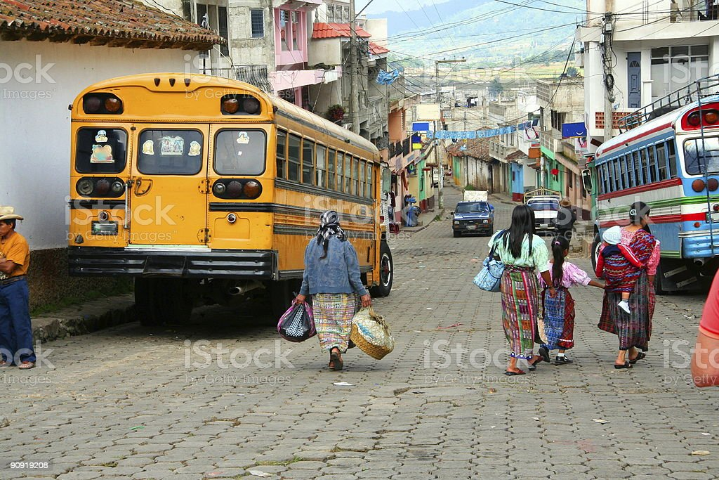 streetlife in a village of guatemala stock photo