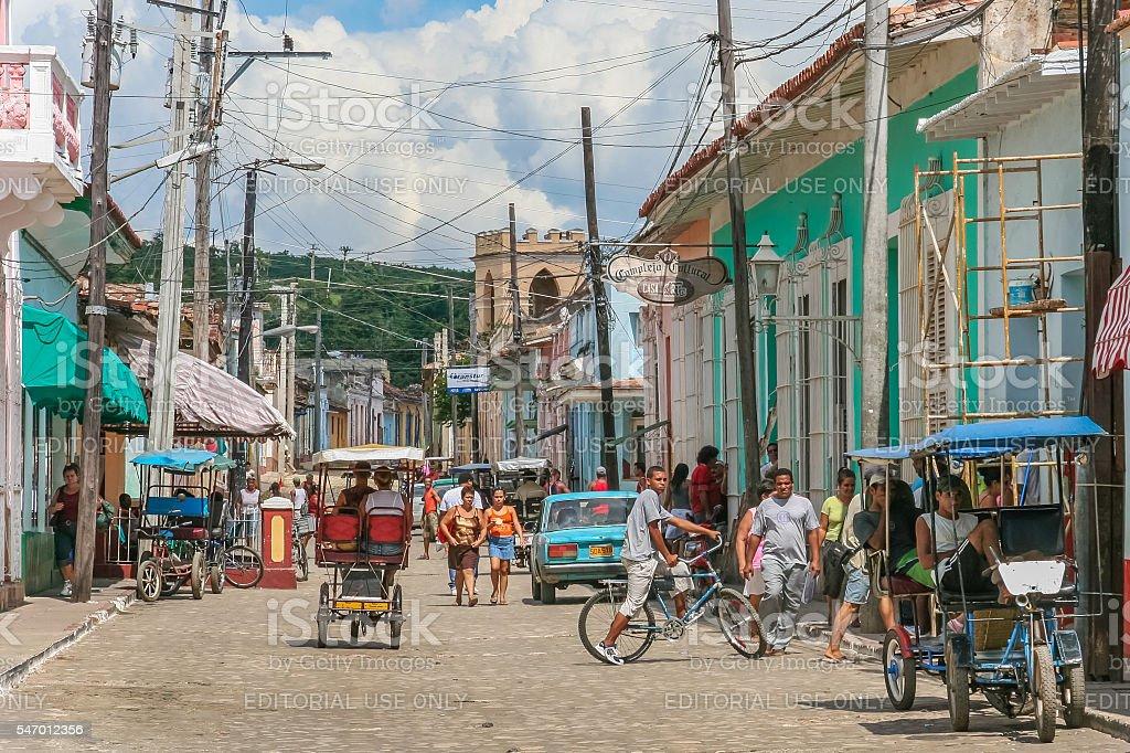 Streetlife scene in the historical center of Trinidad stock photo