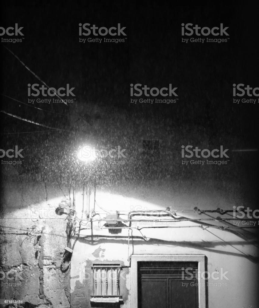 Streetlight in the rain stock photo