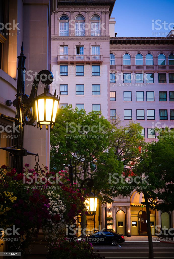 Streetlight with hotel in background at Beverly Hills, CA stock photo